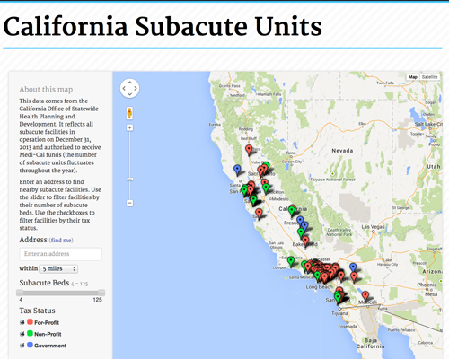 Explore subacute centers in California in this interactive map